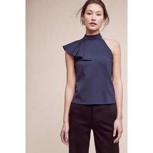 Anthropologie Eri + Ali Navy Ruffled Nobility Top